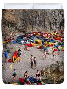 Kayaks On A Beach Duvet Cover