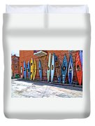 Kayaks On A Wall  Duvet Cover