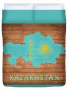 Kazakhstan Rustic Map On Wood Duvet Cover