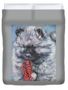 Keeshond Puppy With Christmas Stocking Duvet Cover