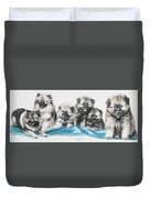 Keeshond Puppies Duvet Cover