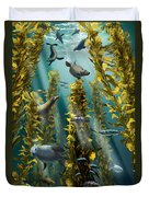 Kelp Forest With Seals Duvet Cover