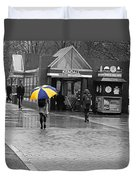 Kendall Square Rainy Day Cambridge Ma Blue And Yellow Duvet Cover