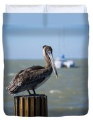 Key Largo Florida Pelican Yacht Duvet Cover