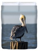 Key Largo Florida Yellow Headed Pelican Duvet Cover