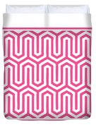 Key Maze With Border In French Pink Duvet Cover