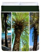 Key West Palm Triplets Duvet Cover by Susanne Van Hulst