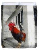 Key West Porch Rooster Duvet Cover by Michelle Calkins