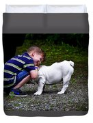 Kid And His Dog Duvet Cover
