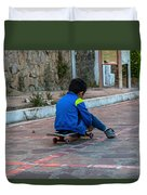 Kid Skateboarding Duvet Cover