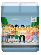 Kids At The Bus Stop Duvet Cover