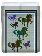 Kids Fun Gallery Horse Prancing Art Made Of Jungle Green Wild Colors Duvet Cover