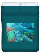 Kina Sea Anemone With  Stingray By Reina Cottier Duvet Cover