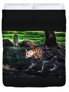 King Cheetah And 3 Cubs Duvet Cover