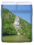 King Decebal, Rock Sculpture Duvet Cover