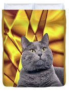 King Kitty With Golden Eyes Duvet Cover