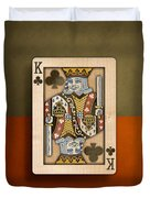 King Of Clubs In Wood Duvet Cover