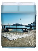 King Tide On The Boston Waterfront Boston Ma Duvet Cover