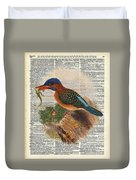 Kingfisher Bird With A Lizard Illustration Over A Old Dictionary Duvet Cover