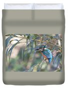Kingfisher In Willow Duvet Cover