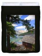 Kintla Lake Ranger Station Glacier National Park Duvet Cover by Marty Koch