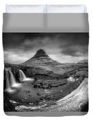 Kirkjufellsfoss Dawn Monochrome  Duvet Cover