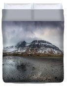 kirkjufellsfoss From Black Beach Duvet Cover