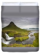 Kirkjufellsfoss On Snaefellsnes Peninsula Iceland Duvet Cover