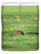 Kissing Cardinals Duvet Cover