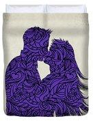 Kissing Couple Silhouette Ultraviolet Duvet Cover