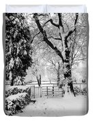 Kissing Gate In The Snow Duvet Cover