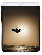Kitesurfing At Sunset Duvet Cover