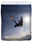 Kitesurfing In The Mediterranean Sea Duvet Cover by Hagai Nativ