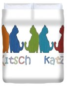 Kitsch Cats Silhouette Cat Collage Pattern Isolated Duvet Cover