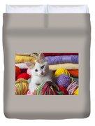 Kitten In Yarn Duvet Cover