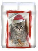 Kitten Playing Santa  Duvet Cover