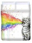 Kitten Tastes The Rainbow Duvet Cover