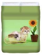 Kitten With Flover Duvet Cover