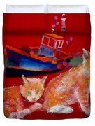Kittens On The Beach Duvet Cover