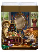 Kittens With Jewelry Box Duvet Cover by Anne Wertheim