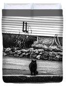 Kitty Across The Street Black And White Duvet Cover
