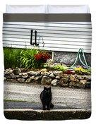 Kitty Across The Street  Duvet Cover