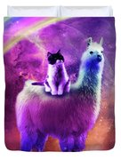 Kitty Cat Riding On Rainbow Llama In Space Duvet Cover