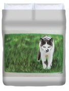 Kitty Grass Duvet Cover