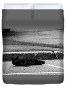 Kitty In The Street Black And White Duvet Cover