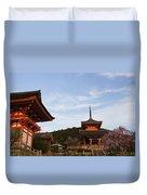 Kiyomizu-dera In Bloom Duvet Cover