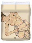 Kneider Weiblicher Halbakt Duvet Cover by Egon Schiele
