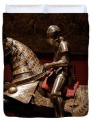 Knight And Horse In Armor Duvet Cover