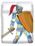 Knight Full Armor With Sword Defending Mosaic Duvet Cover