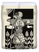 Knight Of Arthur, Preparing To Go Into Battle, Illustration From Le Morte D'arthur By Thomas Malory Duvet Cover